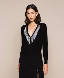 Cardigan with rhinestone fringes Black Woman 201TP3083-04