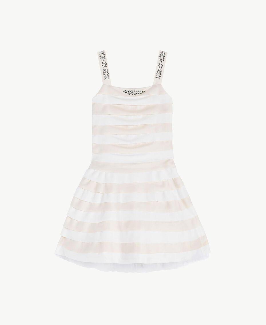 "Rhinestone dress Two-tone Chantilly / ""Papyrus"" White Child GS8LBA-01"