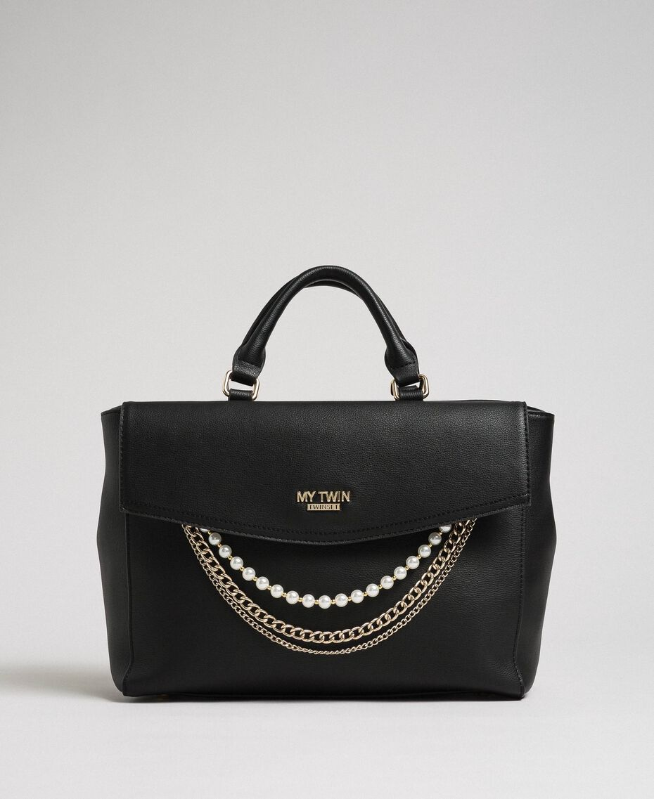 Faux leather shopper with pearls and chains Black Woman 192MA7053-02