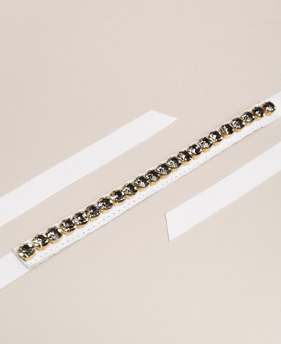 Ripsbandgürtel mit Ziersteinchen Schwarz Frau 201ST4793-02