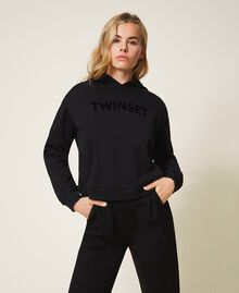Hoodie with same tone logo embroidery Black Woman 202TT2T57-01