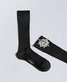 Chaussettes agrémentées de pierres Noir Femme QA8TKE-01
