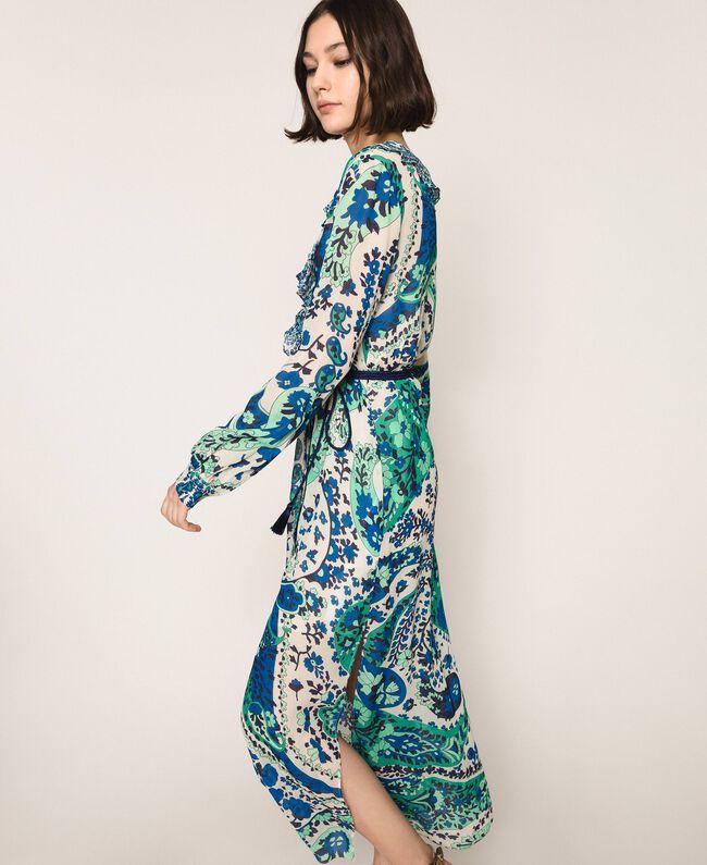 Длинное платье из жоржета с принтом пейсли Принт Кашемир Сапфир / Синий женщина 201TP2533-04