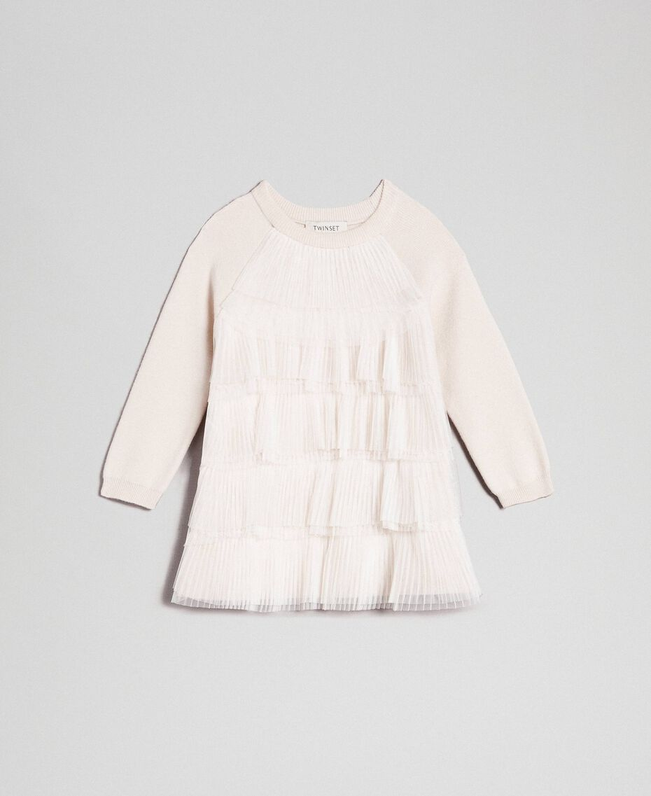 Dress with pleated tulle flounces Pale Cream Child 192GB3110-01