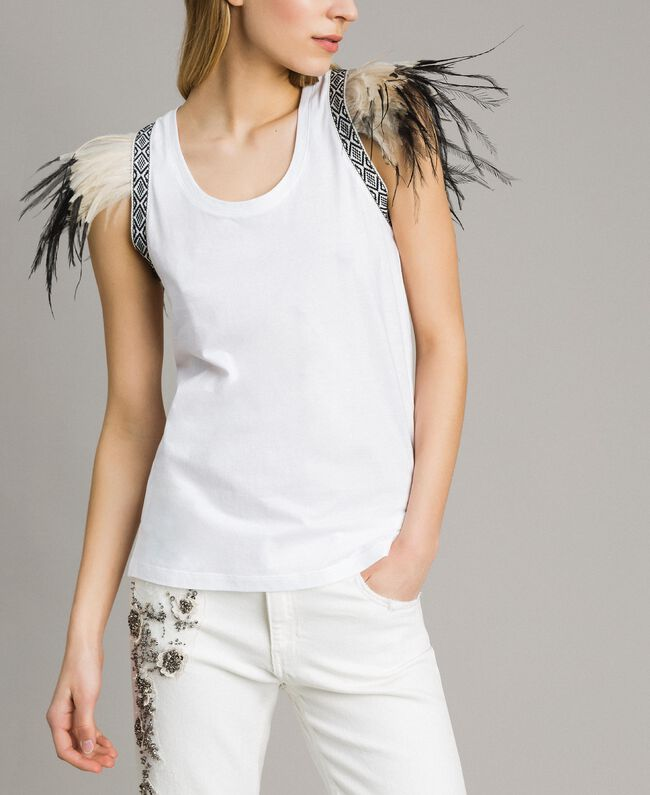 Tank top with removable fadeout feathers White Woman 191TT2205-01