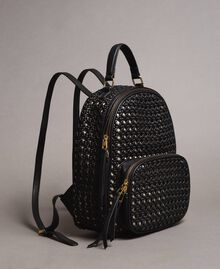 Braided faux leather backpack Black Woman 191TO8010-01