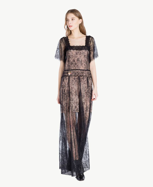 Robe longue dentelle Noir Femme PS821F-01