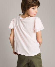 T-Shirt aus Jerseystoff mit aufgedruckten Pailletten Blütenrosa Kind 191GJ2660-03