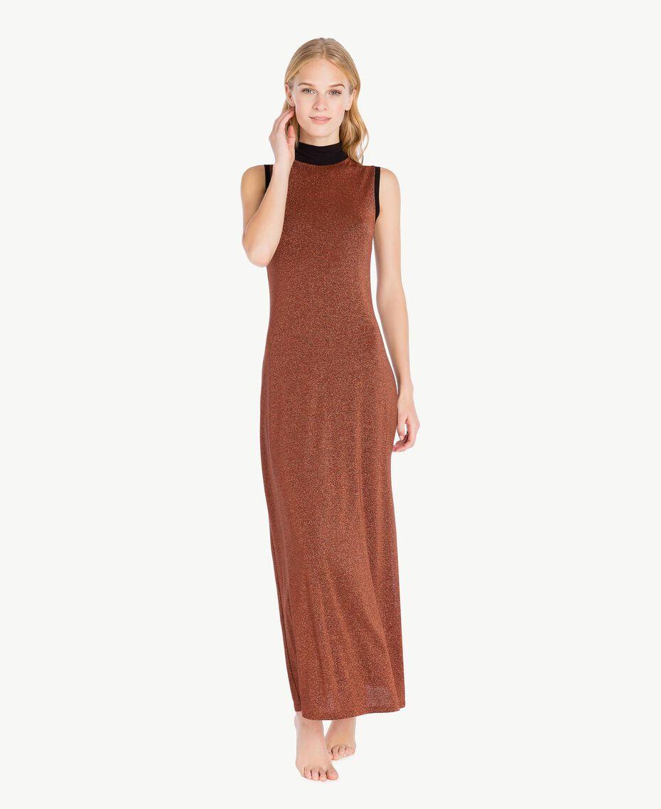Kleid aus Lurex Kupfer / Schwarz IA7WCC-02