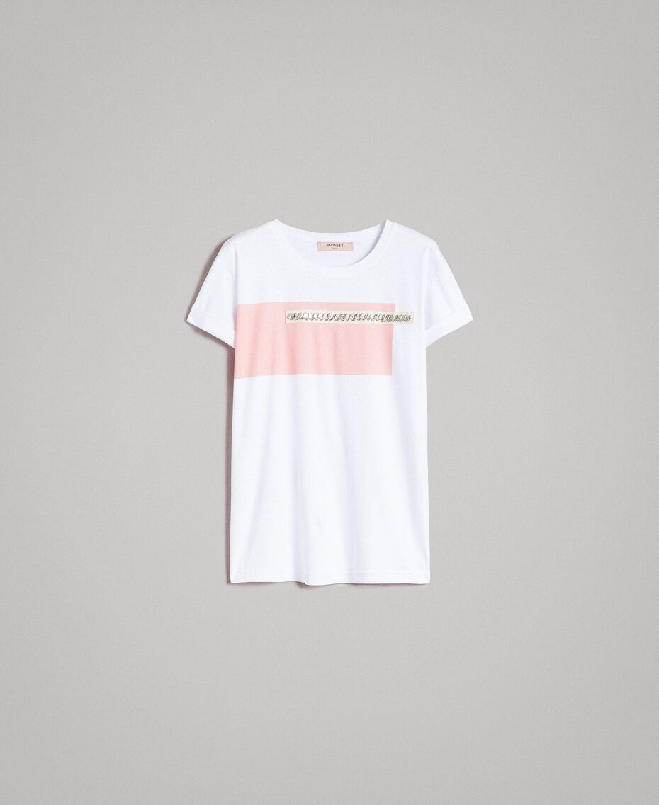 """Printed and embroidered T-shirt Two-tone Optical White / """"Macaron"""" Pink Woman 191TP2294-0S"""