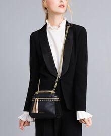 Petit sac Cécile Deux en cuir et cuir velours Noir Femme OA8TC2-0S