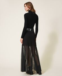 Long skirt with tulle Black Woman 202LI2NMM-04