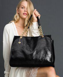 Reisetasche aus Lederimitat in Glitzeroptik Schwarz Frau 192LL7ZFF-0S