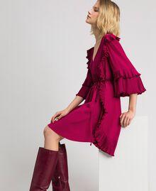 Kleid aus Crêpe de Chine aus Seidenmischung Rote-Bete-Rot Frau 192TP2102-02
