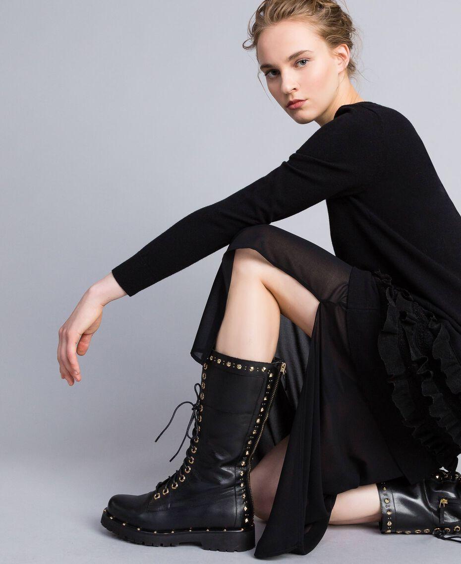 Boots en cuir avec rivets et clous Noir Femme CA8PLY-0S