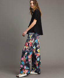 Pantalon palazzo avec imprimé floral Imprimé Fleur Multicolore Noir Total Femme 191MT2293-01