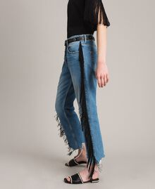 "Boyfriend jeans with floral patch and fringes ""Mid Denim"" Blue Woman 191TT2510-04"