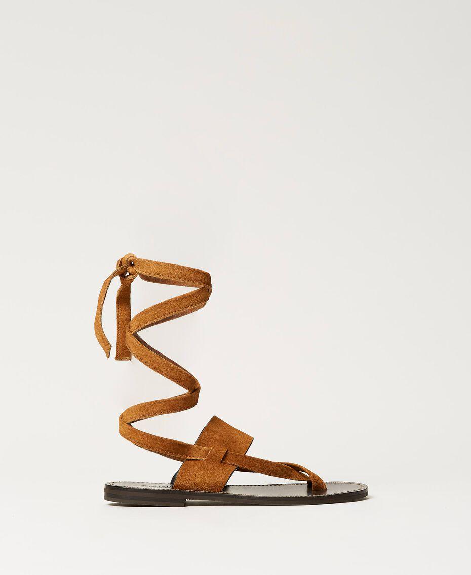 "Sandales plates en cuir Beige ""Cigare"" Femme 211TCT060-03"