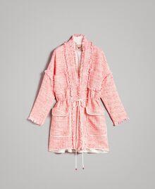 """Blouson oversize en tweed orné de franges Multicolore Bouclé Rose """"Rose Sauvage"""" Femme 191TP2522-0S"""