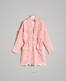 "Fringed tweed oversized jacket Multicolour ""Wild Rose"" Pink Bouclé Woman 191TP2522-0S"