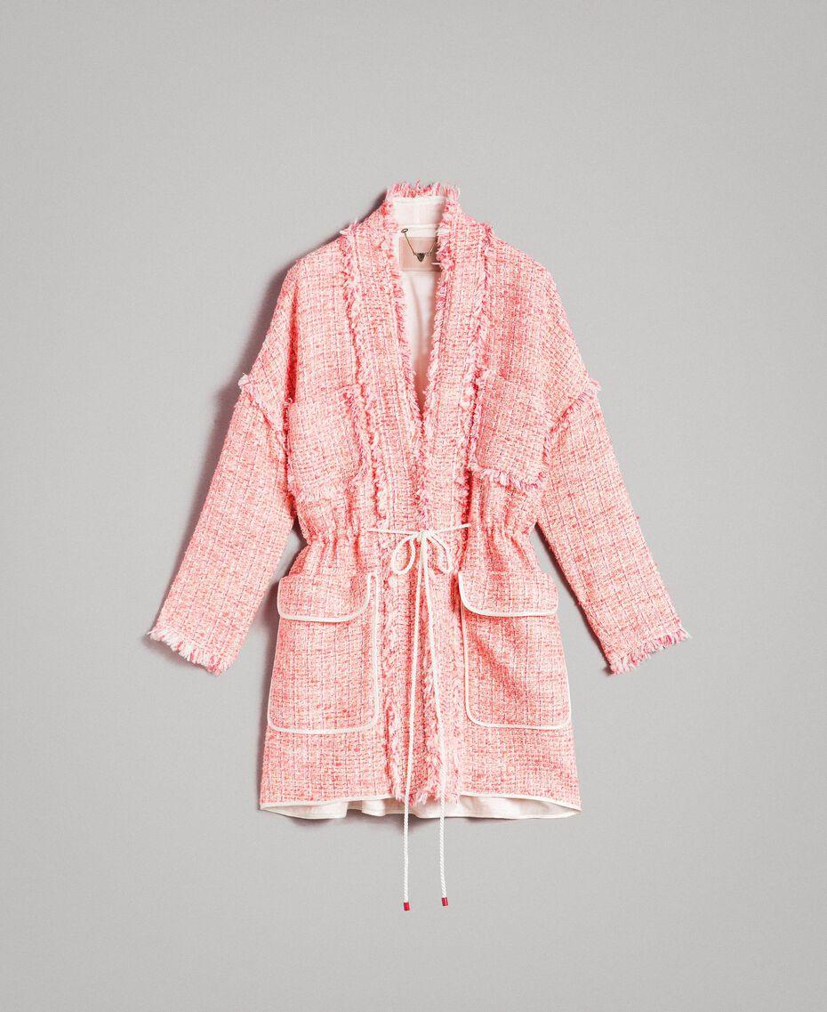 "Übergroße Jacke mit Fransen-Tweedmuster Multicolour ""Wild Rose"" Pink Bouclé Frau 191TP2522-0S"