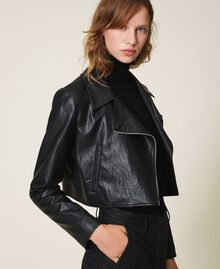 Faux leather cropped biker jacket Black Woman 202TP230A-02
