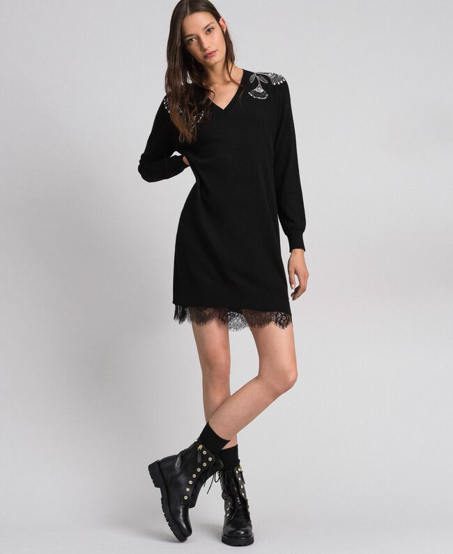 Kleid aus Wolle und Kaschmir mit Stickereien und Unterkleid Schwarz Frau 192TP3331-01
