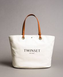 Large canvas shopping bag with logo Black Woman 191TO8202-02