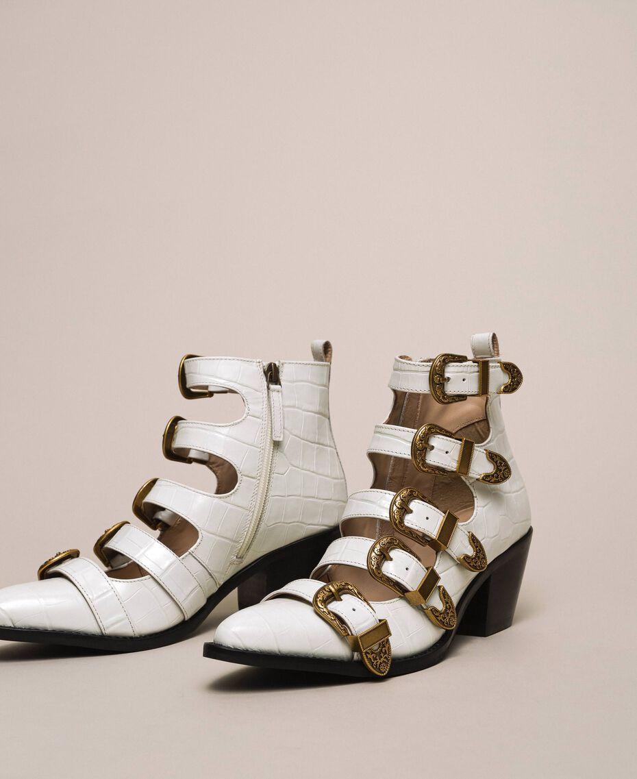 "Leather Texas boots with crocodile print ""Snow"" White Crocodile Print Woman 201TCP05A-01"