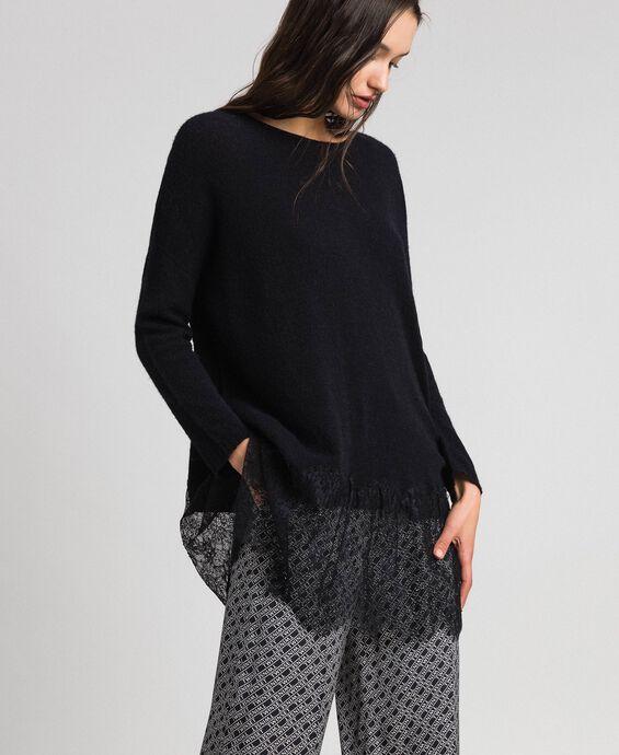 Brushed alpaca and lace maxi jumper
