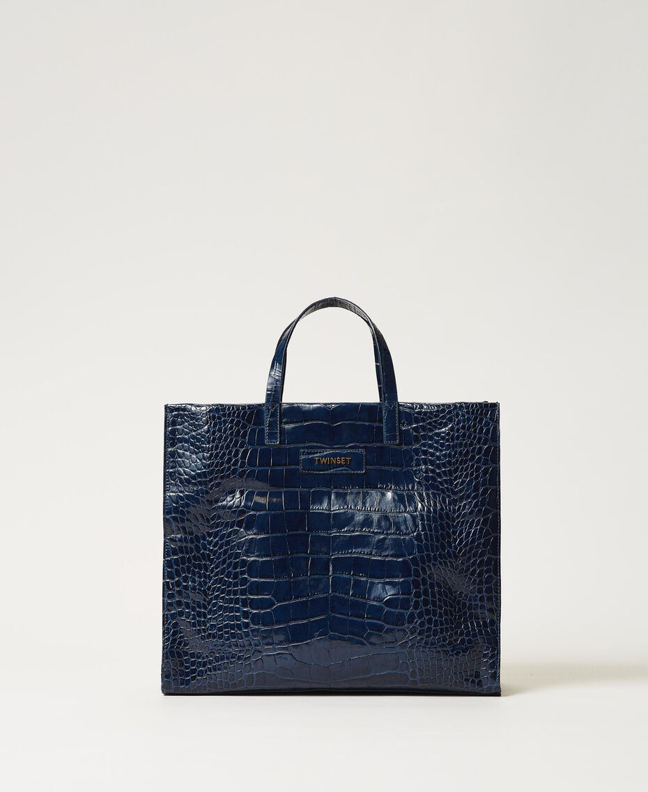 "Large leather Twinset Bag shopper ""True Navy"" Blue Croc Print Woman 202TB7110-02"