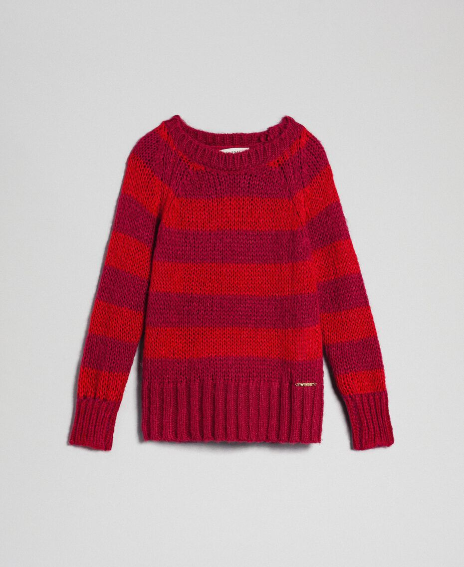 Two-tone striped mohair jumper Ruby Wine Striped Jacquard / Red Child 192GJ3220-0S