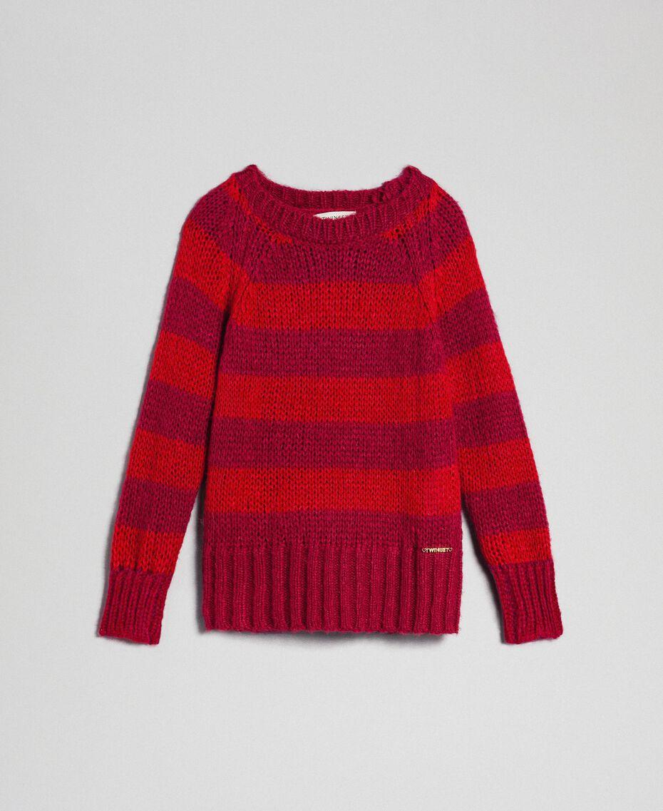 Jersey de mohair con rayas bicolores Jacquard Rayas Ruby Wine / Rojo Niño 192GJ3220-0S