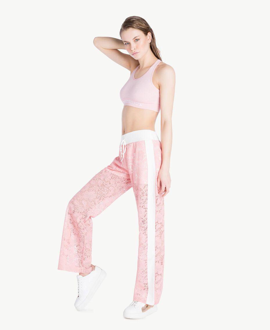 Hose aus Spitze Zweifarbig Pinkie / Optisches Weiß Frau LS89CC-03