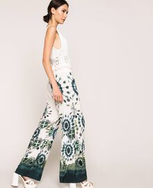 "Jumpsuit with crochet and print ""Atlantic Deep"" Blue Unevenly Dyed Print Woman 201LB3GAA-02"