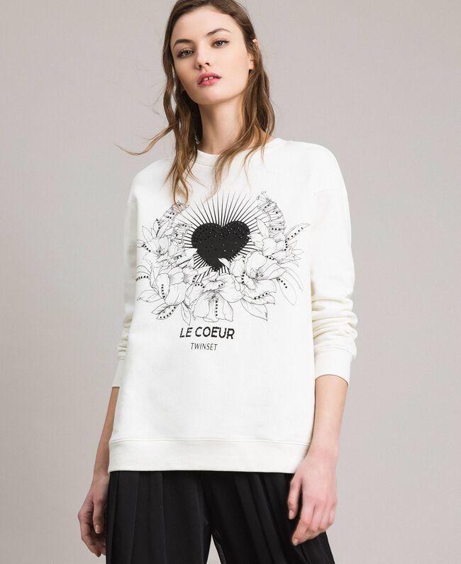 Maxi-Sweatshirt mit Aufdruck und Strasssteinen Mattweiß Frau 191ST2186-01