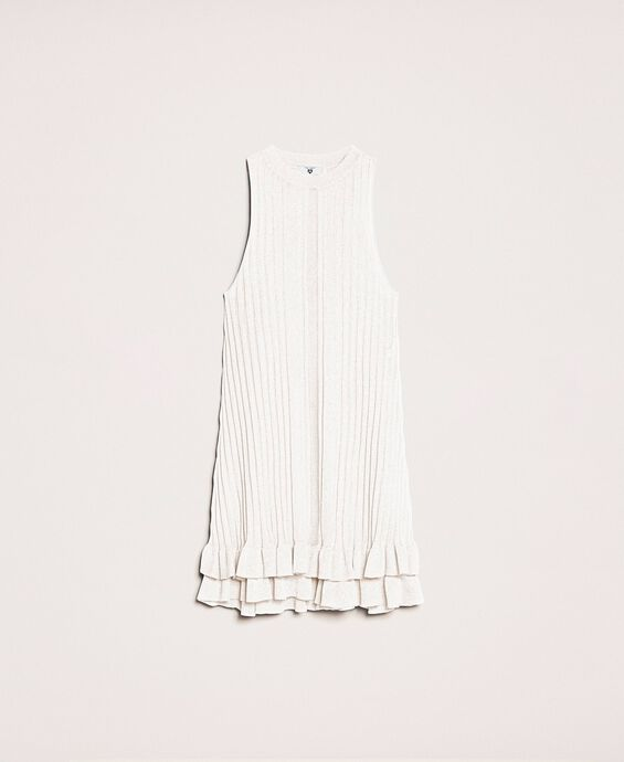Knit mini dress with ruffles