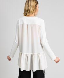 Bluse mit asymmetrischem Volant Weiß Schnee Frau 192TP2641-03