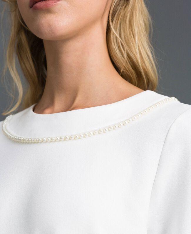 Blouse avec broderie de perles Blanc Neige Femme 192TP2080-04