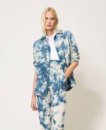 """Tie-dye jacket """"Snow"""" White / Light Blue Tie Dye Woman 211TT2544-02"""