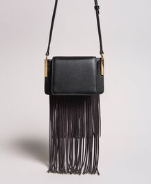 """Leather Bea shoulder bag with fringes """"Marzipan"""" Beige Woman 191TO8231-03"""