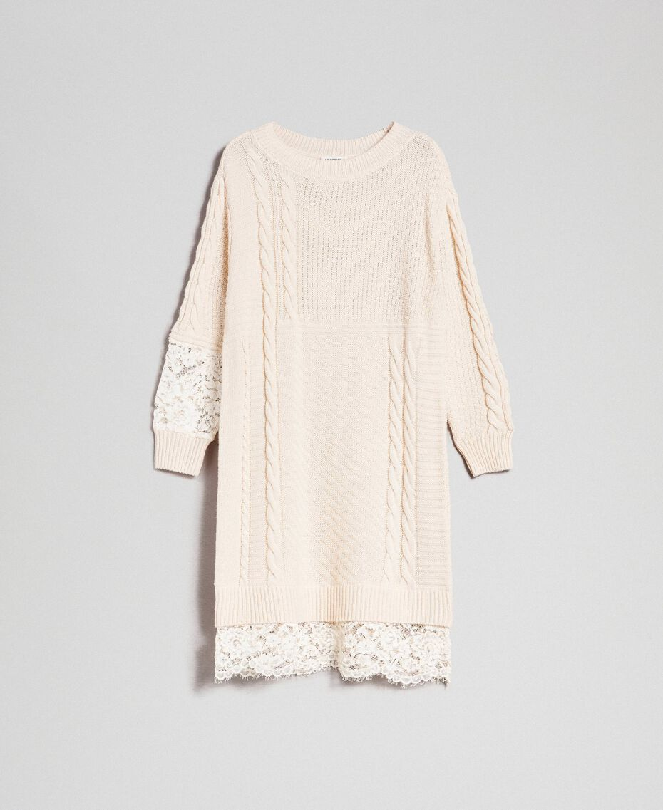 Wool blend dress with mixed stitches and lace Creamy White Woman 192ST3051-0S