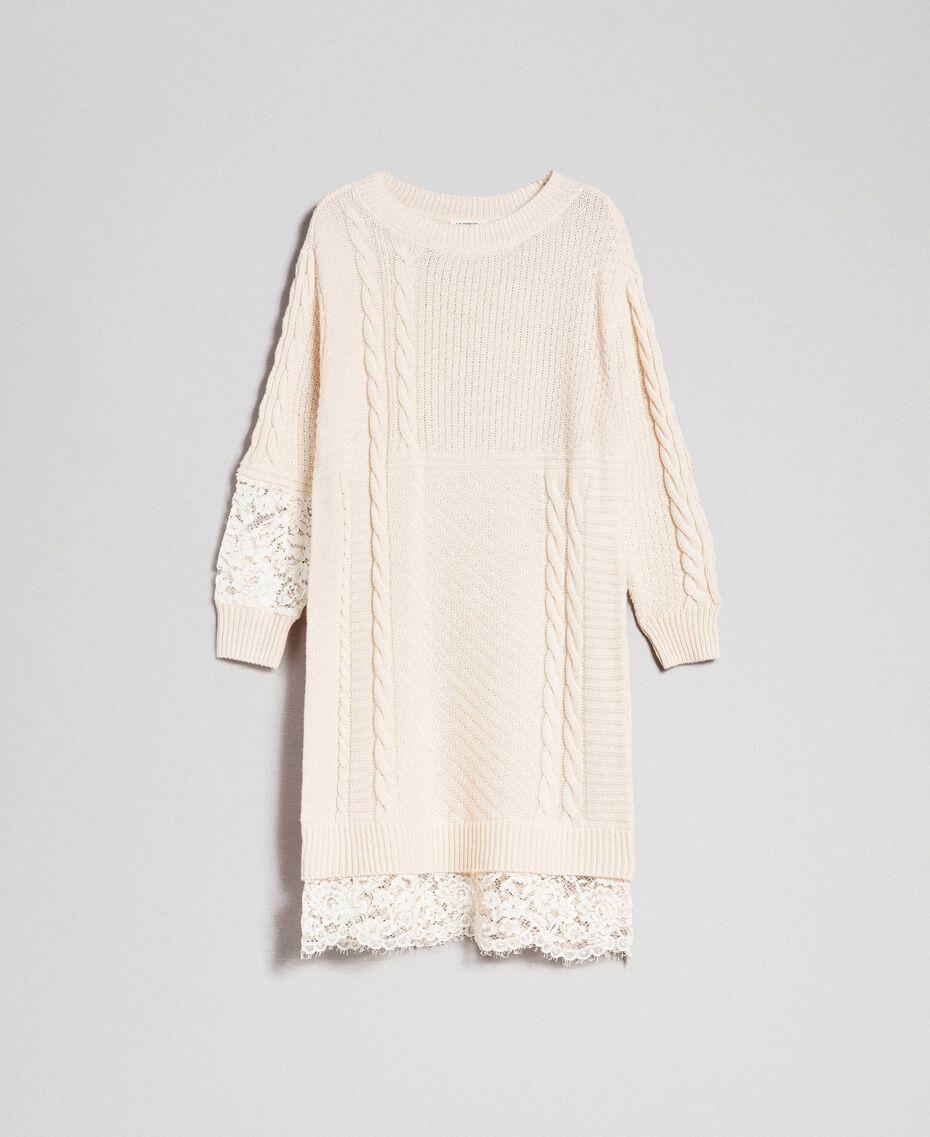 Robe en laine mélangée avec mélange de points et dentelle Blanc Crème Femme 192ST3051-0S