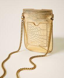 Smartphonetasche mit Krokoprägung Krokoprägung Hellgold Frau 202TD7254-02