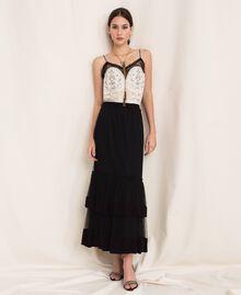 Crêpe de Chine skirt with plumetis tulle Black Woman 201TP2372-0T