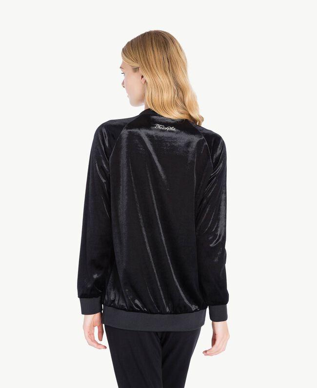 Sweatshirt aus Samt Schwarz LA7KUU-04
