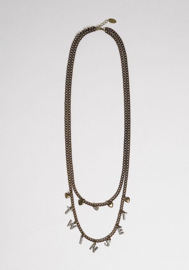 Двухрядное цепочечное ожерелье с подвесками