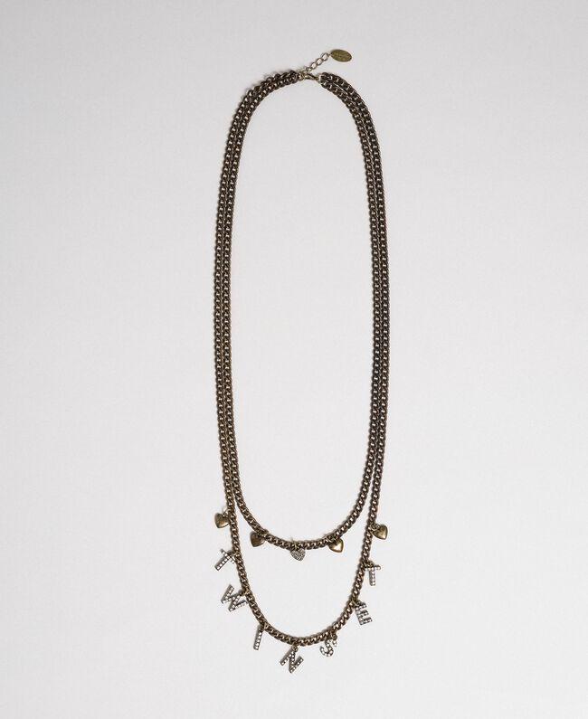 Collier avec rangées de chaîne et pendentifs Bicolore Cristal / Noir Diamant Femme 192TA4369-01