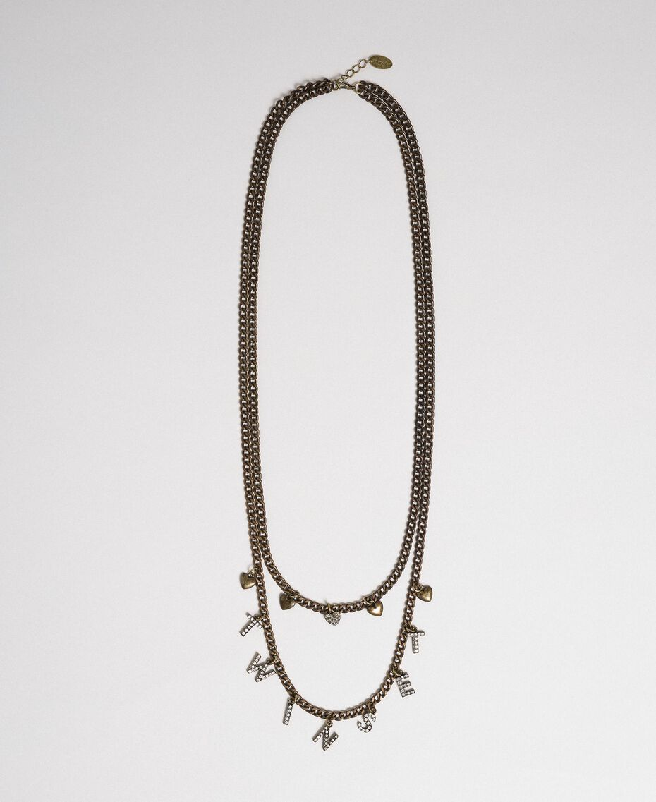 Chain necklace with pendants Two-tone Crystal / Black Diamond Grey Woman 192TA4369-01