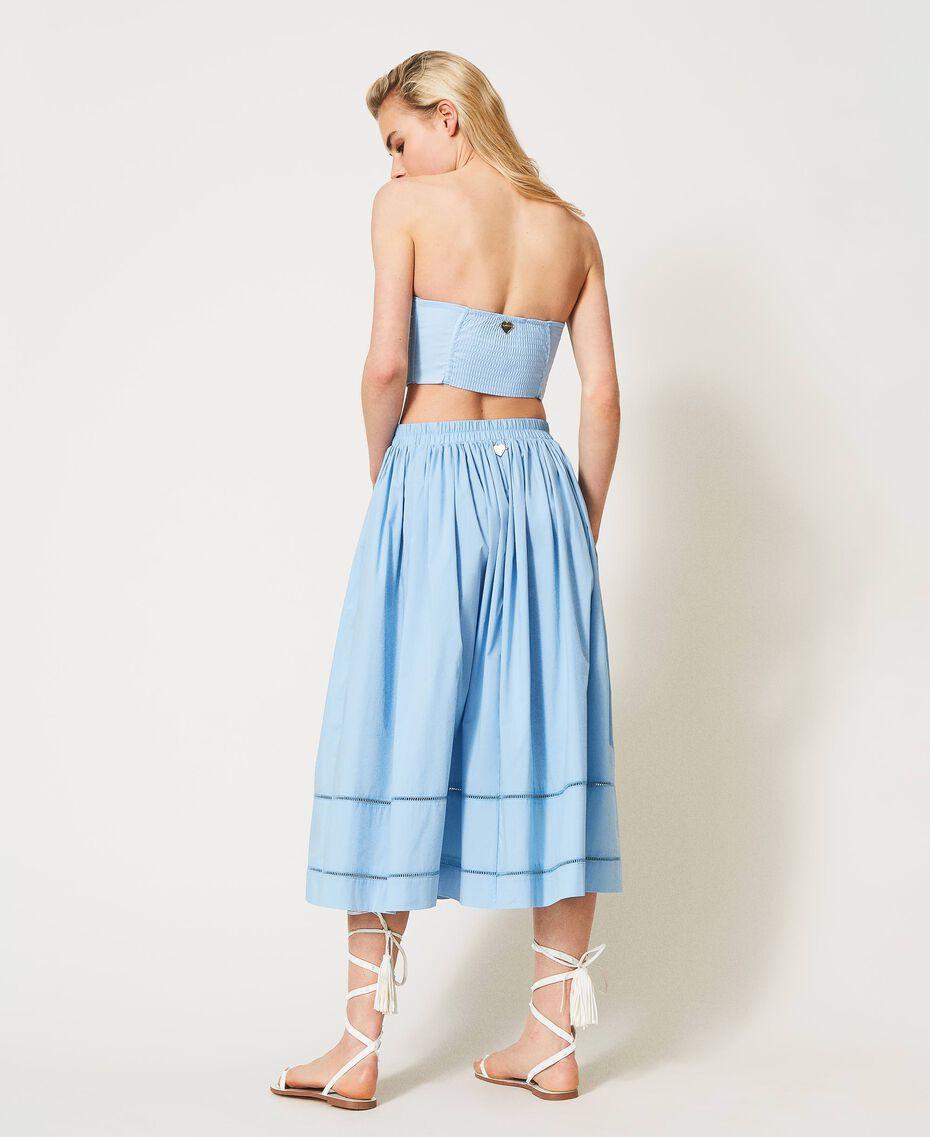 Jupe mi-longue en popeline Bleu «Ciel» Femme 211LM2EFF-03